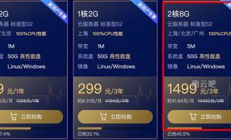 腾讯云2核/8G/5M云服务器优惠价三年1499元
