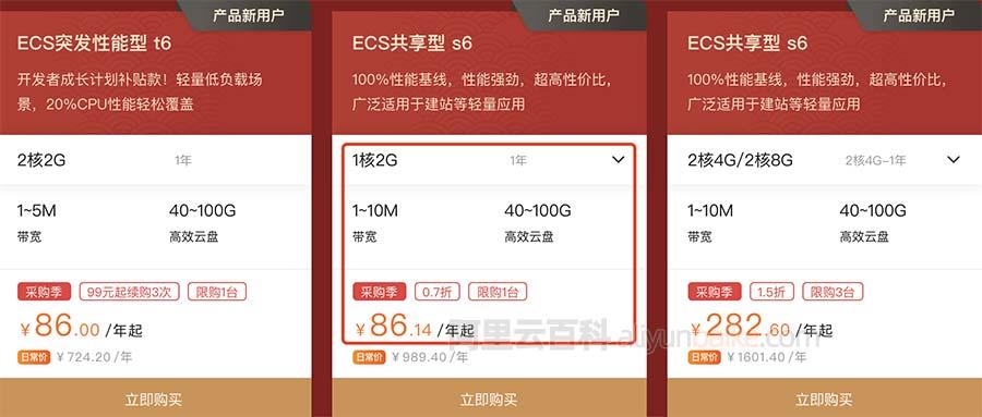 阿里云服务器低配优惠价格86元一年(7元/月)