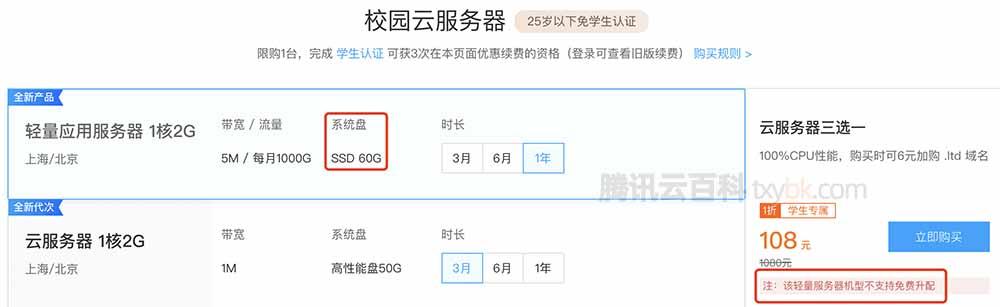 腾讯云学生轻量服务器60G系统盘不支持免费升级
