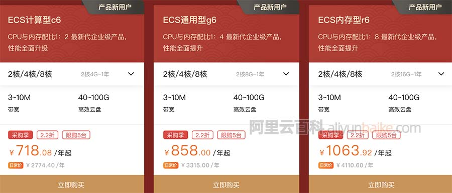 阿里云服务器ECS计算型c6/通用型g6/内存型r6