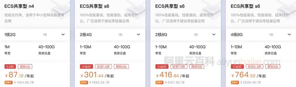 阿里云服务器ECS共享型n4和s6