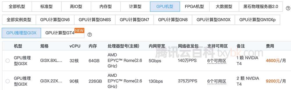 腾讯云GPU服务器推理型GI3X实例