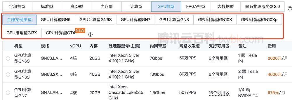 腾讯云GPU服务器价格